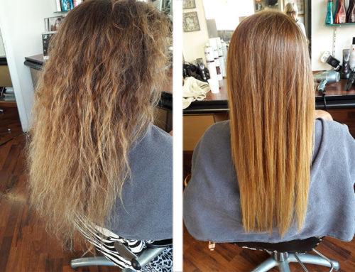 Lissage cheveux frisés et colorés